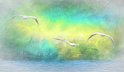 Animals Digital Art - Into the Mist   American White Pelicans at Sea Abstract 1 by Linda Brody