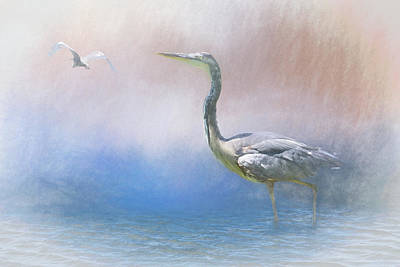 Book Quotes - Into the Mist  Heron in Water III by Linda Brody