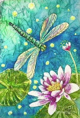 Painting - Into the Woods Dragonfly Waterlily by Jannett Prusik