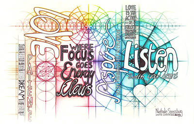 Drawing - Intuitive Geometry Inspirational - Listen Love Focus Aspire by Nathalie Strassburg