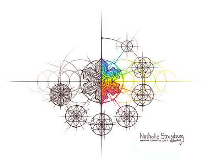 Drawing - Intuitive Geometry Snowflake with steps Art by Nathalie Strassburg
