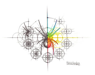 Drawing - Intuitive Geometry Spider with steps by Nathalie Strassburg