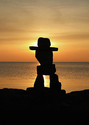 Fathers Day 1 - Inuksuk Silhouette by David T Wilkinson