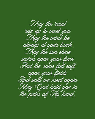 Royalty-Free and Rights-Managed Images - Irish Blessing - May the road rise up to meet you 3 - Celtic, Gaelic Prayer - Minimal, Typewriter by Studio Grafiikka