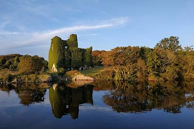 Photograph - Irish castle and reflection on water by Patrick Dinneen
