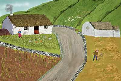 Rights Managed Images - Irish Landscape Digital Painting of a rural scene Royalty-Free Image by Kieran Gallagher