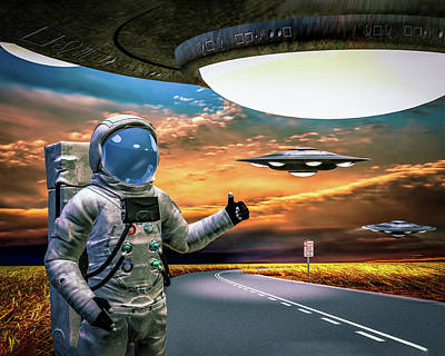 Surrealism Royalty Free Images - Ironic Number Four - Hitchhiker Royalty-Free Image by Bob Orsillo