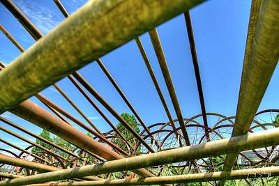 Jerry Sodorff Royalty-Free and Rights-Managed Images - Irrigation Pipes Blue Sky by Jerry Sodorff
