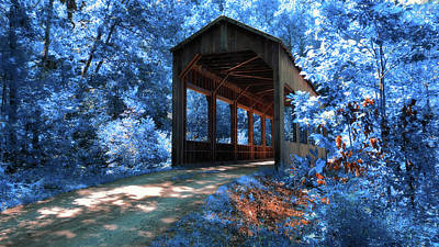 Bicycle Patents - Island Properties Covered Bridge in Infrared by Joann Vitali