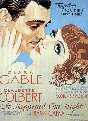 Mixed Media Royalty Free Images - It Happened One Night, with Clark Gable and Claudette Colbert, 1934 Royalty-Free Image by Stars on Art