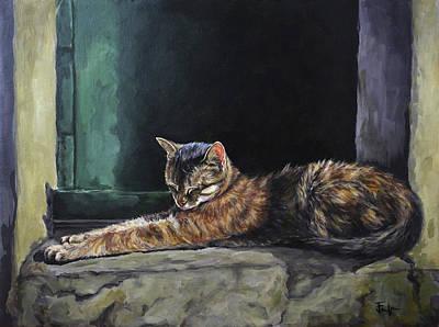 Painting - Italian Cat Nap by Joan Frimberger