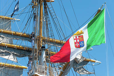 Photograph - Italian Navy flag on the tall ship Amerigo Vespucci by Flavio Massari