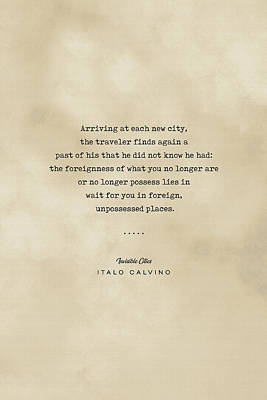 Royalty-Free and Rights-Managed Images - Italo Calvino Quote - Invisible Cities - Typewriter quote on Old Paper - Literary Poster - Books by Studio Grafiikka