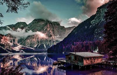 Surrealism Digital Art - Italy Mountains Pragser Wildsee Lake Water - Surreal Art by Ahmet Asar by Celestial Images