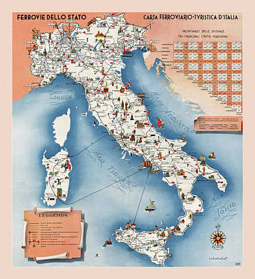 Comic Character Paintings - Italy Railway Map 1953 by Andrew Fare
