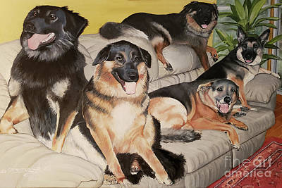 Animals Paintings - Its a Dogs Life Too by Deborah Strategier