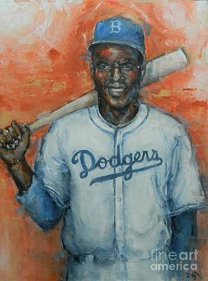 Sports Paintings - Jackie Roosevelt Robinson by Dan Campbell