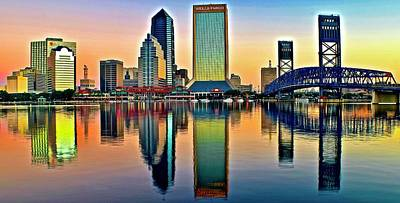 World Forgotten Rights Managed Images - Jacksonville Florida Alight and Aglow Panoramic View Royalty-Free Image by Frozen in Time Fine Art Photography