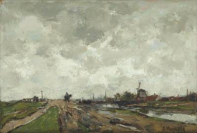 Impressionist Landscapes - Jacob Maris The Hague 1837-1899 Karlsbad Along the canal by Artistic Rifki