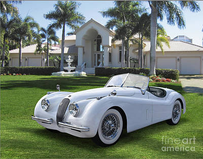 Abstract Stripe Patterns - Jaguar XK120 On Marco Island by Ron Long