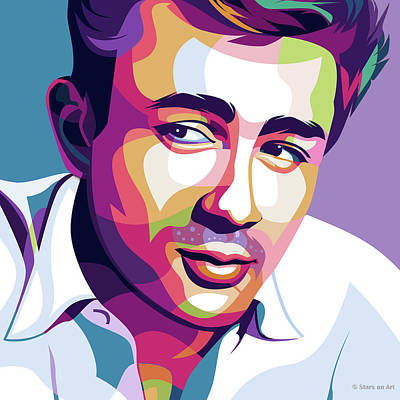 Modern Sophistication Line Drawings Royalty Free Images - James Dean Royalty-Free Image by Stars on Art