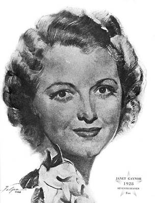 Drawings Royalty Free Images - Janet Gaynor by Volpe Royalty-Free Image by Stars on Art