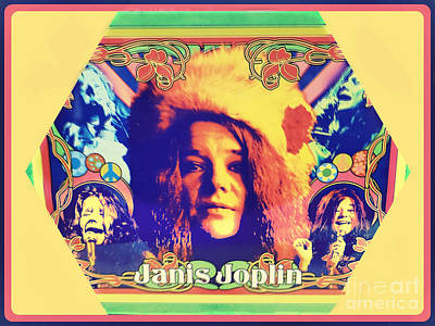 Still Life Royalty-Free and Rights-Managed Images - Janis Joplin Poster Art by Diann Fisher