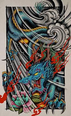 1920s Flapper Girl - Japanese Dragon by Samuel Whitton