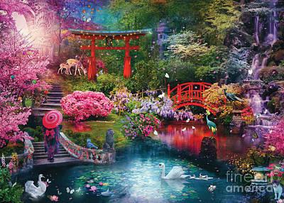 Digital Art - Japanese Garden by MGL Meiklejohn Graphics Licensing