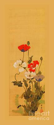 Travel - Japanese Red and White Poppies on Silk Scroll Edo Period by Suzuki Kiitsu