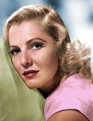 Peacock Feathers - Jean Arthur colorized by Stars on Art