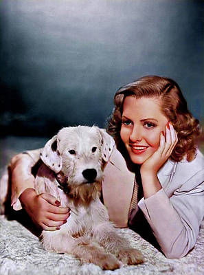 Royalty-Free and Rights-Managed Images - Jean Arthur - with dog by Stars on Art