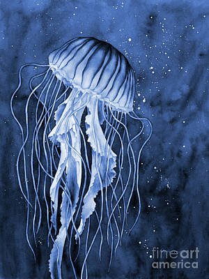 Royalty-Free and Rights-Managed Images - Jellyfish in Blue2 by Hailey E Herrera