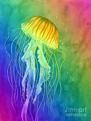 Popstar And Musician Paintings - Jellyfish on Rainbow by Hailey E Herrera