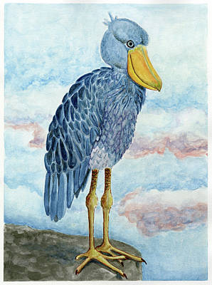 Painting - Jen's Spirit Animal, The Shoebill Stork by Laura Dozor