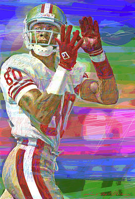 Pop Art Rights Managed Images - Jerry Rice Super Bowl Royalty-Free Image by David Lloyd Glover