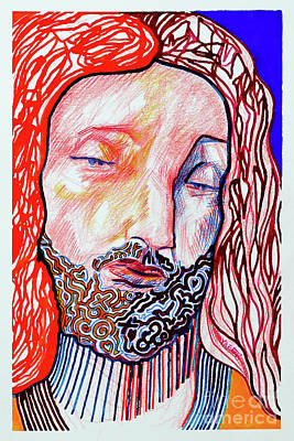 Drawings Royalty Free Images - Jesus Christ - da Vinci Royalty-Free Image by Robert Yaeger
