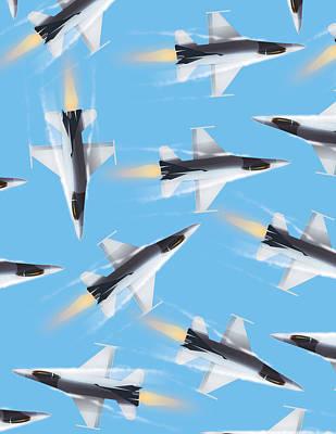 Digital Art - Jet planes pattern by David Greenaway