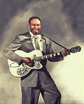 Painting Royalty Free Images - Jimmy Reed, Music Legend Royalty-Free Image by John Springfield