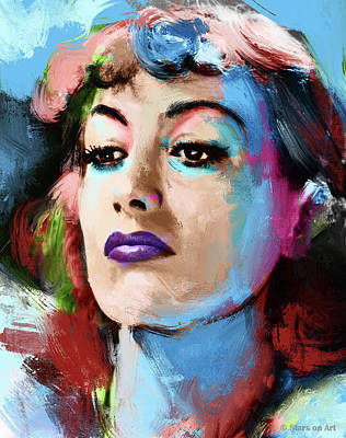 Monets Water Lilies Rights Managed Images - Joan Crawford portrait painting Royalty-Free Image by Stars on Art