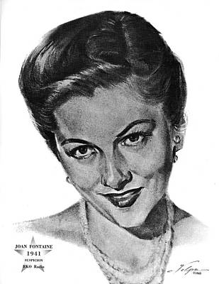 Drawings Royalty Free Images - Joan Fontaine by Volpe Royalty-Free Image by Stars on Art