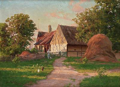 Abstract Oil Paintings Color Pattern And Texture - Johan Krouthen Sweden 1858 1932 A farm with hens by Artistic Rifki