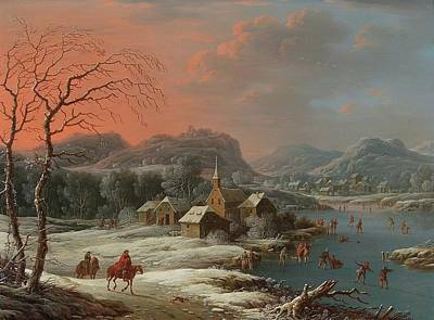 Nighttime Street Photography - Johann Christian Vollerdt Leipzig 1708 1769 Dresden A mountainous winter landscape with skaters on a by Artistic Rifki