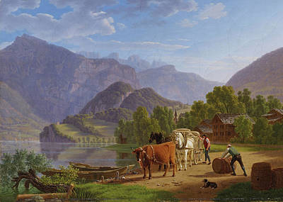 Up Up And Away - JOHANN JAKOB BIEDERMANN 1763 1830 Am Walensee with Churfirsten view from Mols by Artistic Rifki
