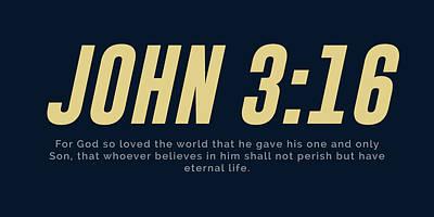 Mixed Media Royalty Free Images - John 3 16 - Minimal Bible Verses 3 - Christian - Bible Quote Poster - Scripture, Spiritual, Faith Royalty-Free Image by Studio Grafiikka