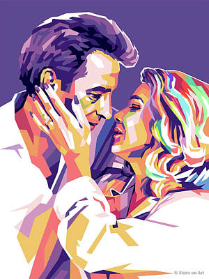 Digital Art Royalty Free Images - John Cassavetes and Gena Rowlands Royalty-Free Image by Stars on Art