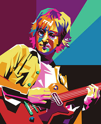 Royalty-Free and Rights-Managed Images - John Lennon Playing Guitar Wpap Pop Art by Ahmad Nusyirwan