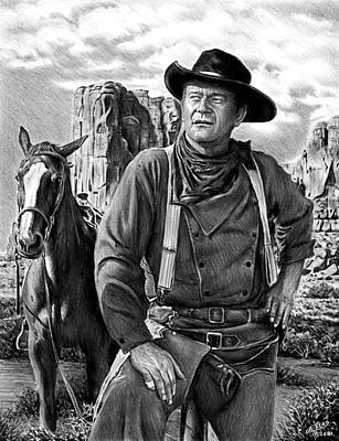 Animals Drawings - John Wayne The Searchers bw version by Andrew Read