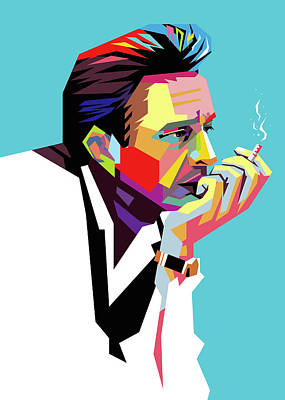 Royalty-Free and Rights-Managed Images - Johnny Cash Wpap Pop Art 2 by Ahmad Nusyirwan