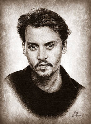 Musicians Drawings Rights Managed Images - Johnny Depp sepia version 2 Royalty-Free Image by Andrew Read